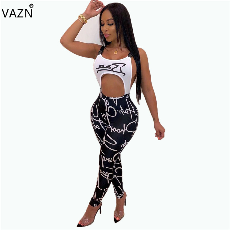 VAZN Women Jumpsuits Spaghetti-Strap Elastic Sexy Hollow-Out Summer Sleeveless Letter