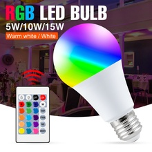 E27 Bulb RGB Lights 5W 10W 15W Changeable Colorful 220V Lamp RGBW Bombilla With IR Remote Control Decor Lamp LED Home Lighting