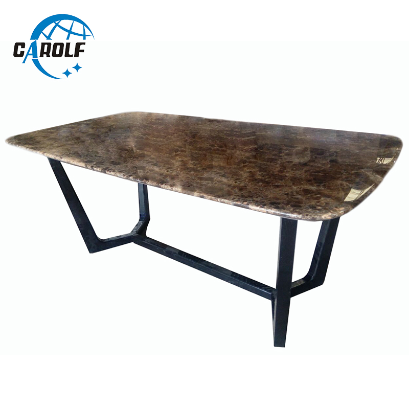 Contemporary Style Marble Top Oval Dining Table With Solid Wooden Frame