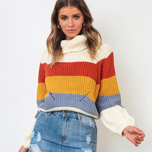 ALLNeon Women's Turtleneck Sweaters Striped Oversized Long Sleeve Knitting Jumpers Females Pullover Patchwork Winter Knitwear 2019 Colored Stripes Sweater Women Jersey Rainbow Sweater Casual Fashion Autumn Clothes(China)