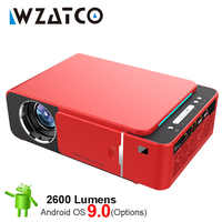 WZATCO T6 Android 9,0 WIFI opcional de 2600lumen 720p HD proyector LED portátil HDMI 4K 1080 proyector de cine en casa Beamer
