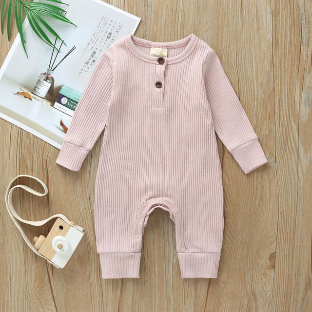 Babies Ribbed Cotton Romper for Sleeping 4