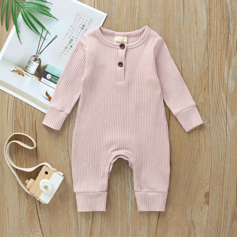2020 아기 봄 가을 의류 신생아 유아 소년 소녀 면화 Romper 니트 늑골이있는 점프 슈트 솔리드 옷 따뜻한 의상