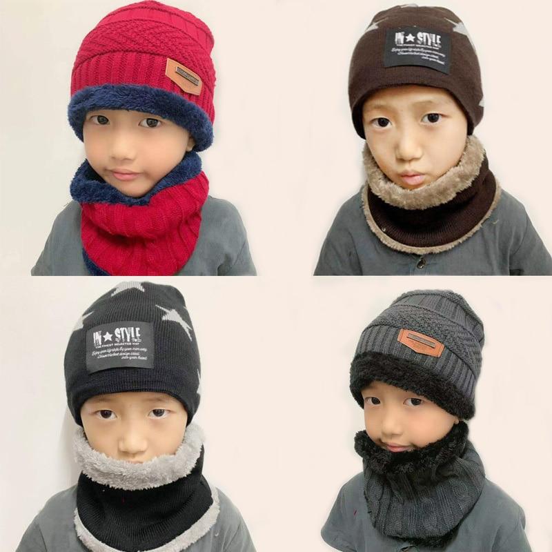 2Pcs Kids Knitted Hat Autumn Winter Protection Children's Skullies Beanies Boys Girls Outdoor Sport Cap Scarf Set F13697CH