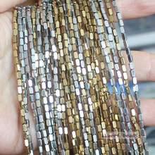 Perline rettangolari in ematite naturale 2x4mm sfaccettate 95 pezzi per filo, per la creazione di gioielli fai-da-te! Commercio all'ingrosso misto per tutti gli articoli!