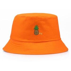 Cubo de Panama, sombrero para hombres y mujeres, gorra de verano de algodón con piña, gorro bordado de plátano, sombrero de Bob, Gorros de Hip Hop, sombrero de pescador cazando