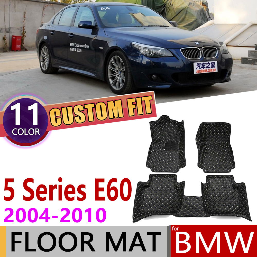 Custom Leather Car Floor Mat for BMW 5 Series E60 Sedan 2004~2010 5 Seats Foot Pad Carpet Accessories 2005 2006 2007 2008 2009