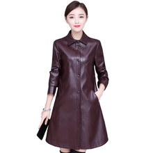 Long Leather Jacket Women Winter Autumn Loose Womens Leather Jackets and Coats Plus Size 5XL Black PU Faux Leather Long Coat