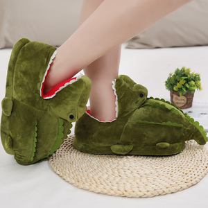 Hot New Cartoon Crocodile Plush Home Winter Warm Non-slip Cotton Funny Shoes Green Half Cover Toe Slides Furry AP(China)