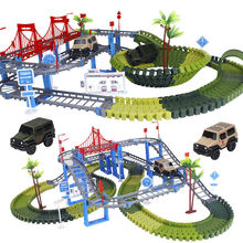 Military Play Set Railway Magical Racing Track DIY Educational Bend Flexible Glowing Race Army Flash Track Car Toys For boys(China)