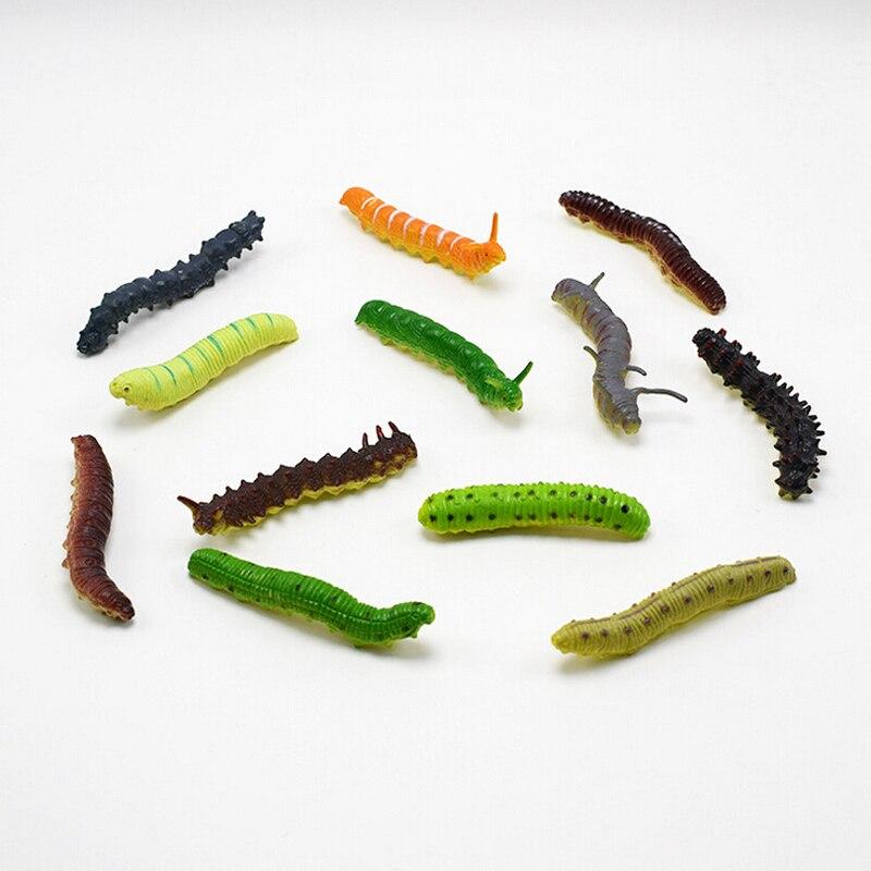 12 шт. забавные розыгрыши, разноцветные пластиковые игрушки для Хэллоуина, детские игрушки, гусеницы, модели, милые Волшебные жуки, хитовые и...