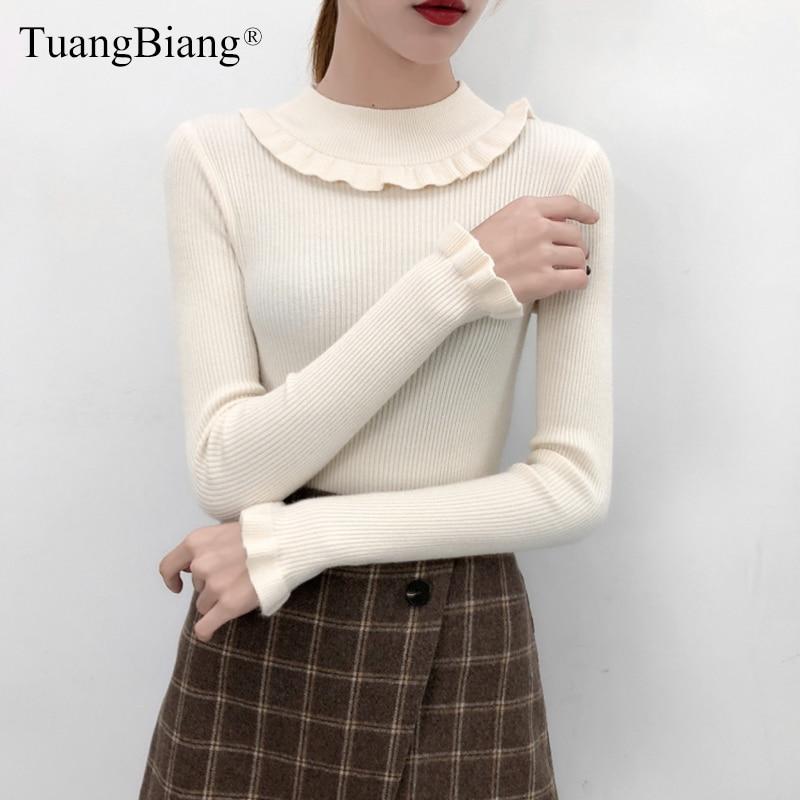 2019 Women Flare Sleeve Turtleneck Ruffles Sweaters Winter Elastic Slim Ladies Knit Soft Pullovers Female Tops Fashion Jumpers