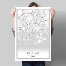 Finland Black White World City Map Poster Nordic Living Room Helsinki Turku Vaasa Wall Art Pictures Home Decor Canvas Painting yeni turku izmir