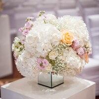 Rosa peonía blanco Artificial de seda de hortensias | Flores artificiales para la decoración del hogar ramo de la boda falsa flor pieza central de fiestas