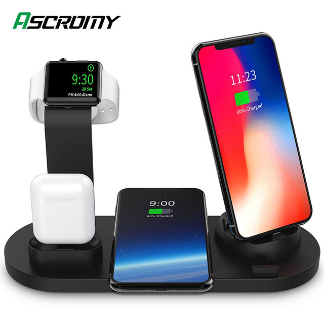 3 in 1 Wireless Charging Dock for iWatch Apple Watch 5 4 2 and Airpods iPhone 11 Pro Max X XR XS 8 Plus Docking Station Charger