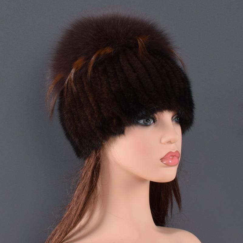 Sombrero de piel de visón de alta calidad para mujeres sombreros de piel de visón natural con pompones grandes de lujo de piel de zorro las mujeres de dama ir - 3