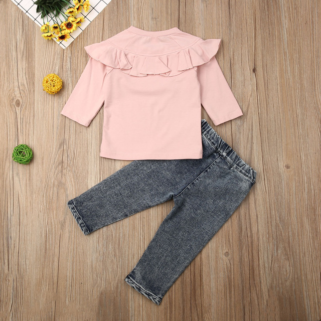 Maximum supplier US STOCK Kid Newborn Baby Girl Cotton long Sleeve Denim Trousers Winter Clothes