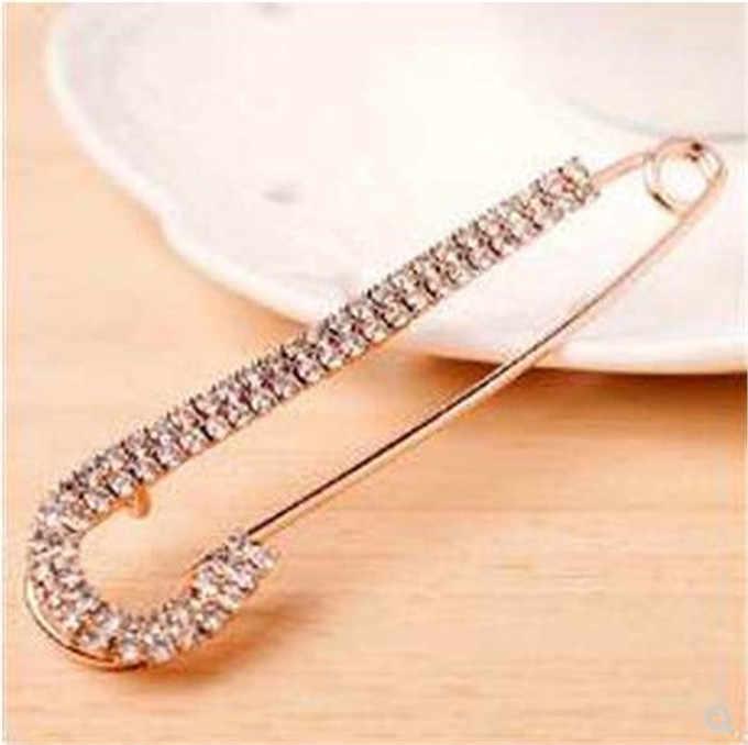 Fashion Syal Pin Rhinestone Berkilau Jilbab Pin Paduan Emas Bros untuk Pernikahan/Pesta/Hadiah