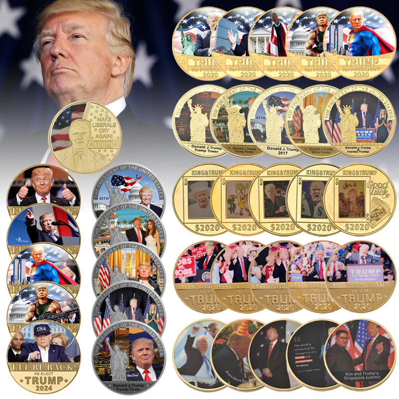 WR Full set Donald Trump Gold Plated Commemorative Coin Collectibles USA President Original Coin Set Gifts for Man Dropshipping