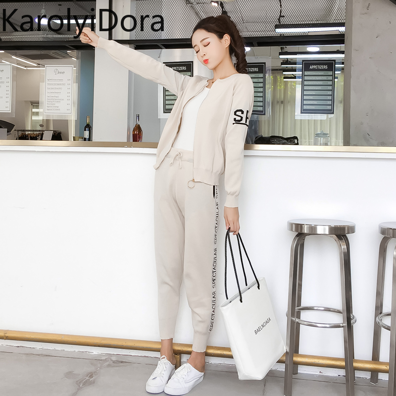 Women's suit 2020 Spring and autumn new fashion knit sweater sports suit women's cardigan thin casual pants 2 piece set women 4