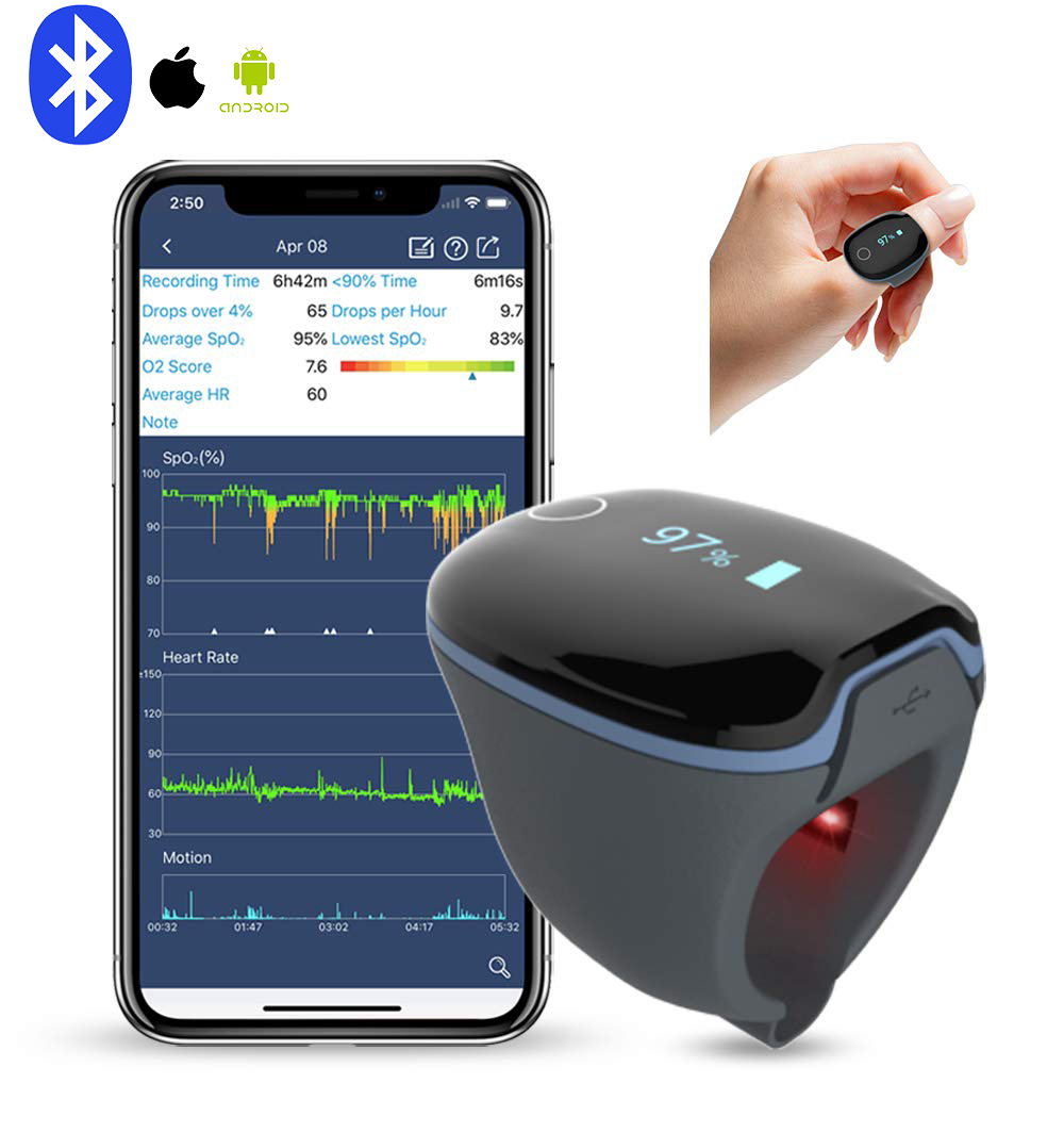 Bluetooth IOS Android Wearable Sleep Monitor vibrates reminder пульсоксиметр на палец Health Tracker with Free APP PC Report