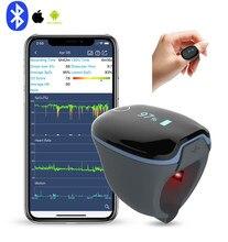 Bluetooth IOS Android poręczny pomiar podczas snu wibruje przypomnienie пульсоксиметр на палец Monitor zdrowia z darmowa aplikacja PC raport