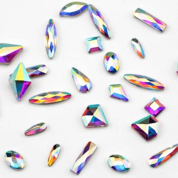 100pcs/pack Wholesale Nail Art Rhinestones Flat Crystal AB Shaped Teardrop Rectangle Glass Stons For 3D Nails Decoration 5
