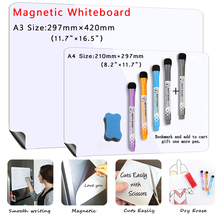 2pcs/set A3+A4 Size magnetic dry erase board whiteboard fridge stickers Message Memo practice writing bulletin white board