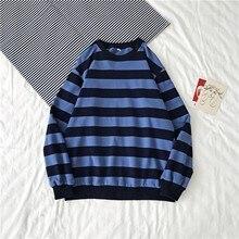 40# Unisex Oversized Hoodie Women Classic Winter Round Neck Stripe Sweatshirt Pullover Tops Long Sleeved Hoodies Худи Оверсайз