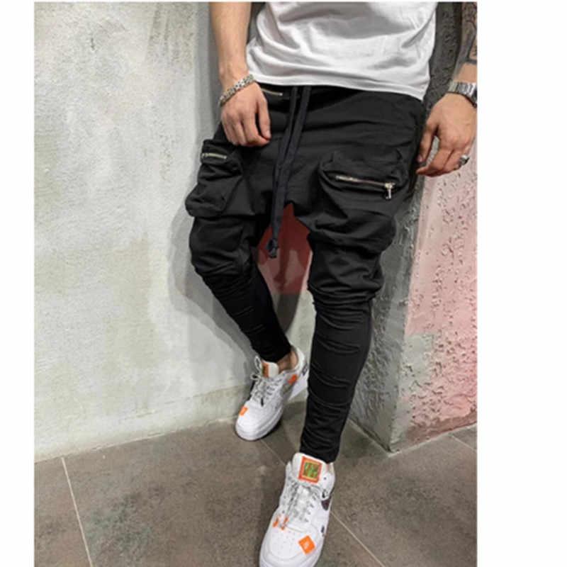 Man Pants New Fashion Streetwear Stitching Color Joggers Hip Hop Long Pants Men Elastic Waist Multi-pocket jogger pants