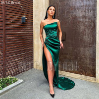 Stunning Green Sexy Prom Dresses Strapless High Slit Women Special Occasion Dress Plus Size Long Party Gowns Robe De Soiree