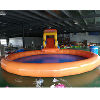 new style inflatable amusement center park swimming pool with slide and climbing wall