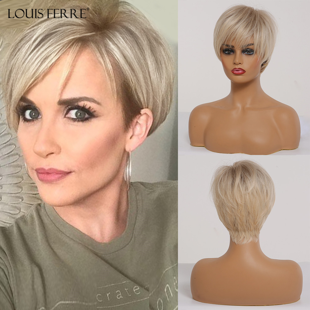 LOUIS FERRE Short Ombre Brown Light Blonde Synthetic Wigs With Side Bangs For Black Woman Cosplay Layered Wig High-Temperature