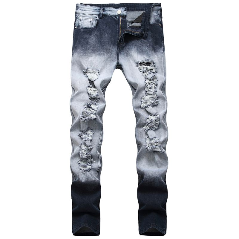 2019 Men Trend Ripped Jeans For Men Fashion Destroyed Hole Beggar Jeans Full Length Skinny Jeans Men Pants Hip Hop Streetwear