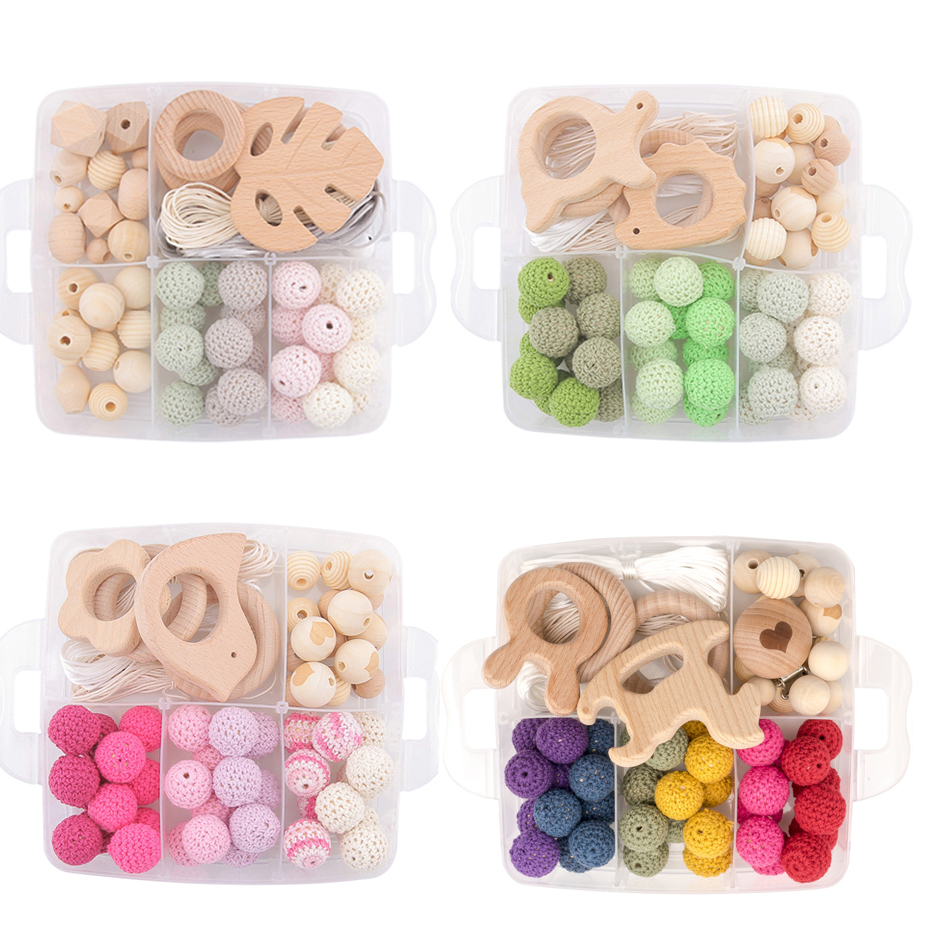 Let's Make Crochet Beads Wooden Teether DIY Combination Felt Ball Baby Teether Toys Pacifier Clip Baby Rattle Wood Toys