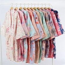 17 cores de algodão mulher quimono pijamas yukata estilo japonês floral solto longo sleepwear camisola cardigan lazer roupão
