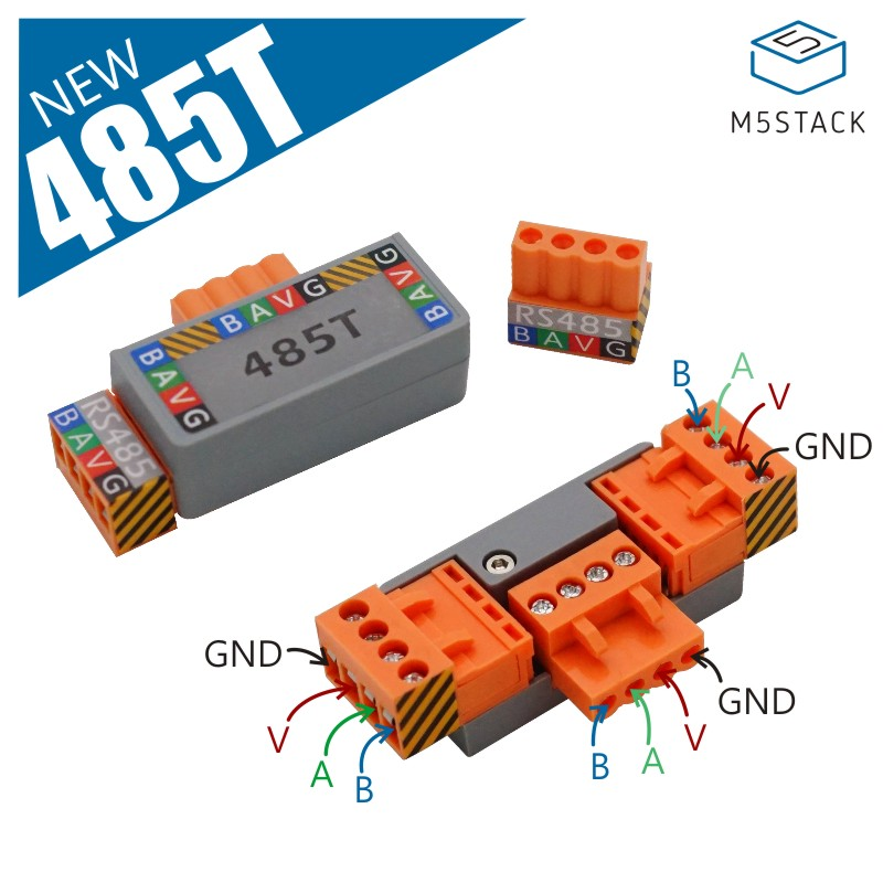 M5stack T-485 T-Shape Connector For RS485 Communication Power LED 4 Pin HT3.96 Terminal Connector