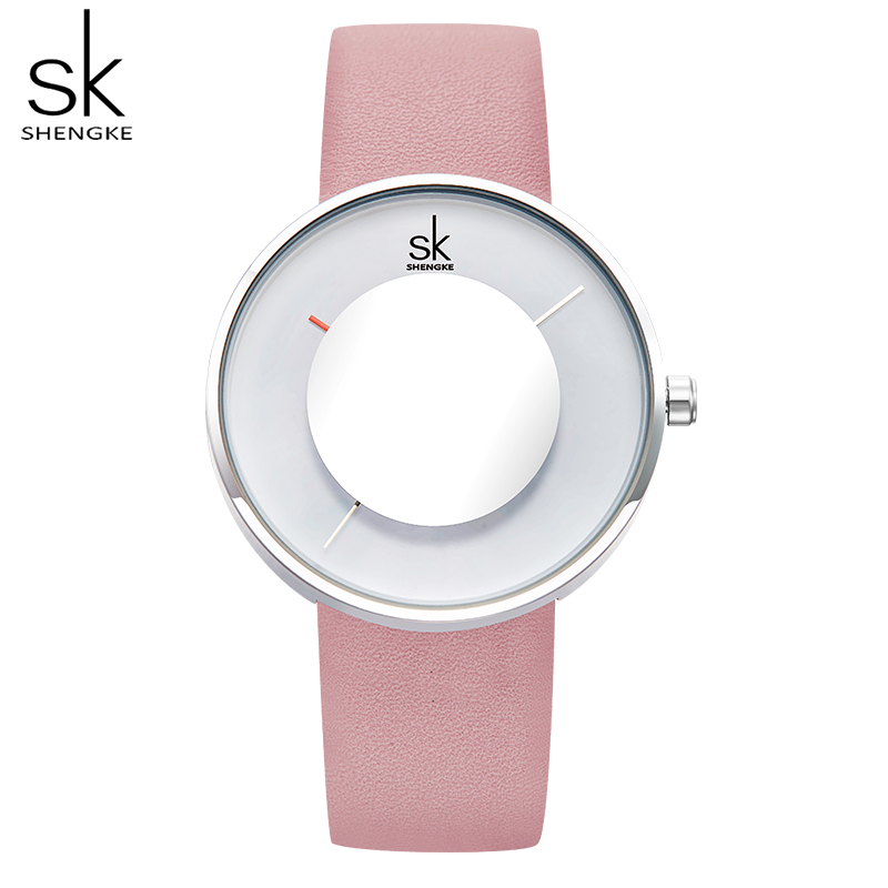 Women's Watches Simple Fashion Shengke Luxury Brand Watch Women Leather Band Young Girl Waterproof Watches Ladies Clock Relogio
