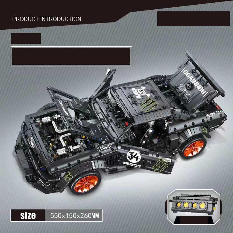 Ford MOC-22970 à moustaches Hoonicorn lepinblocs compatibles Legoed Technic blocs de construction Super course voiture moteur brique jouets