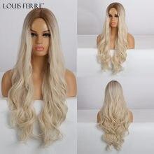 LOUIS FERRE — Perruque longue pour femme noire, synthétique et ondulée, blonde claire, marron ombre, en fibre résistante à la chaleur, pour cosplay