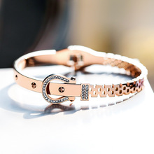 Luxury female top quality titanium steel new buckle design bangle fashion jewelry bracelet crystal concise wristlet jewel women
