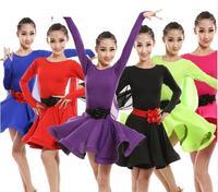 Kids Latin Dress Top Selling 5 Color Ballroom Tango Salsa Dresses for Sale Cotton Spandex Short Long Sleeve Latin Dance Dress