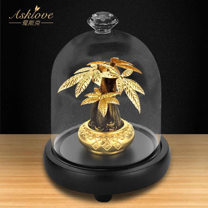 Asklove Fortune Pohon Mengumpulkan Kekayaan Ornamen 24K Foil Emas Kerajinan Fengshui Dekorasi Beruntung Uang Pohon Bonsai Dekorasi Rumah Kantor