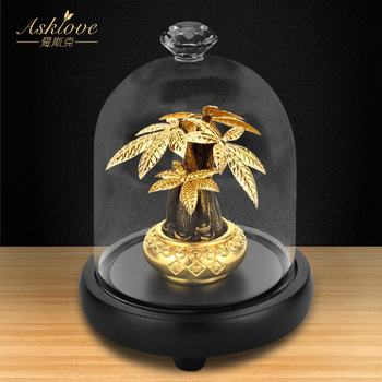 Árbol de la fortuna Asklove, colección de adorno riqueza, 24K, artesanía de papel de aluminio dorado, decoración Fengshui, árbol de la suerte, bonsái, decoración para el hogar y la Oficina