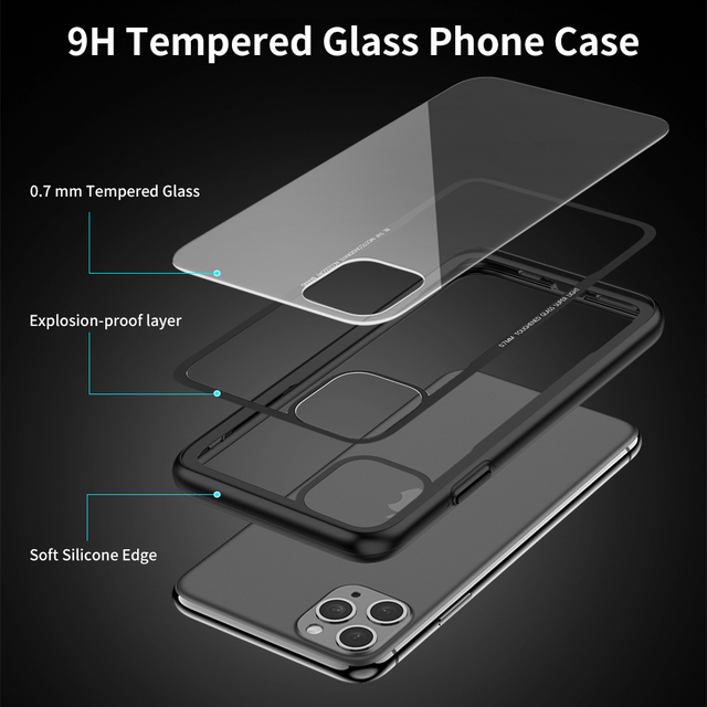 FLOVEME Tempered Glass Case For iPhone X XS MAX XR Luxury Transparent Case For iPhone 7 8 6 6s plus Cover For iPhone 11 Pro Max