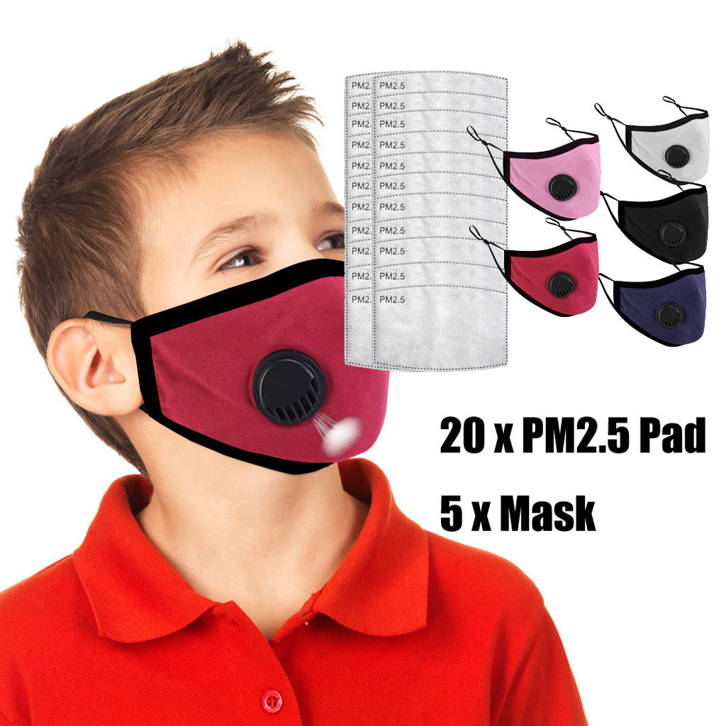 5PCS Breathable Face Mask 3D Breathing Valves Reusable Washable Soft Dustproof Face Mask Cover For Kids Children Face Masks