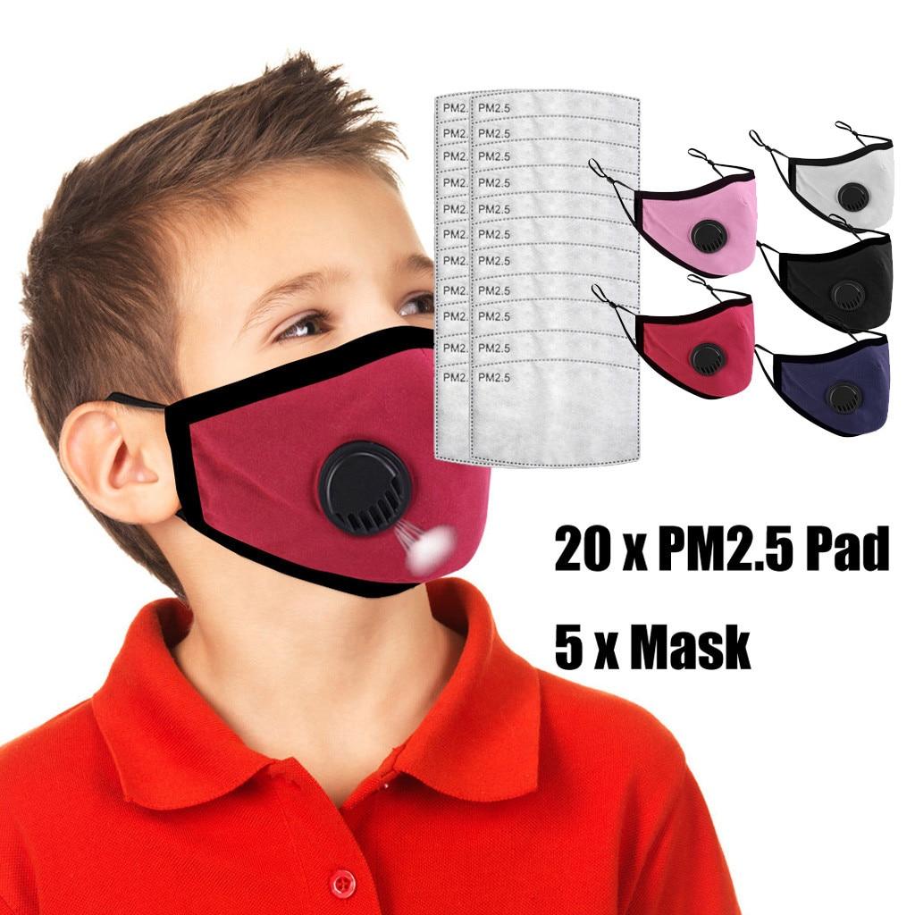5PCS Breathable Face Maske 3D Breathing Valves Reusable Washable Soft Dustproof Face Maske Cover For Kids Children Face Maske