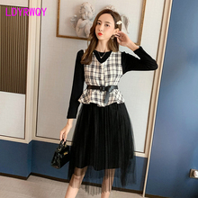 цена 2019 autumn new Japanese style long-sleeved knit slim lattice stitching vest + mesh dress two-piece suit Knee-Length