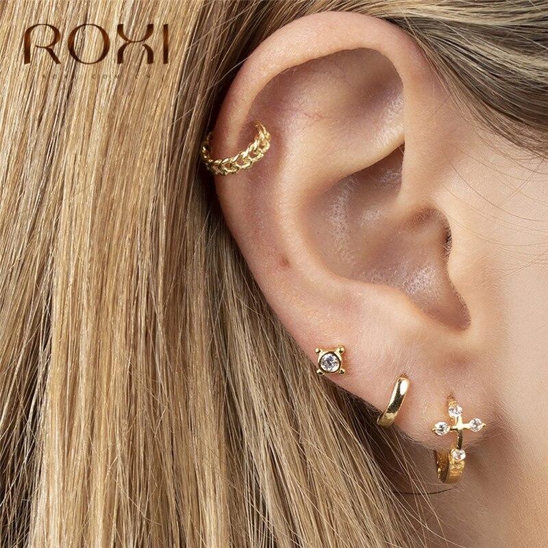 ROXI Fashion Rould Circle CZ Cross Earrings 100% 925 Sterling Silver Small Stud Earrings For Women Wedding Earring Party Jewelry