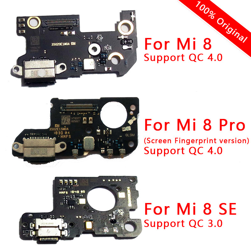Original PCB Board For Xiaomi Mi 8 Pro USB Plug With Quick Charge Flex Cable For Mi 8 SE Charging Port Replacement Phone Parts